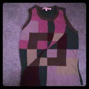 Easel pink green print lambswool sweater vest